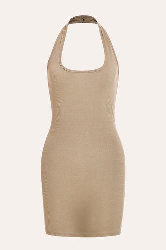 back_Janet Edwina Khaki Bodycon Halter Dress