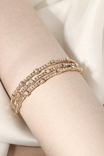 front_Faithe Kredeblo Gold Rhinestone Design Bracelet 3pcs