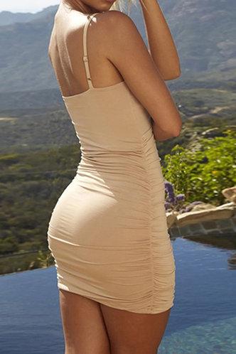 back_Elena Elaine Khaki Ruched Dress