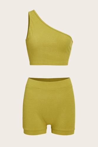 back_Pullover Yellow Shorts Sets