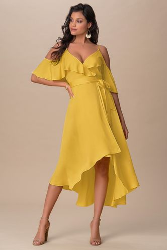 front_So Lady Like Yellow Midi Dress