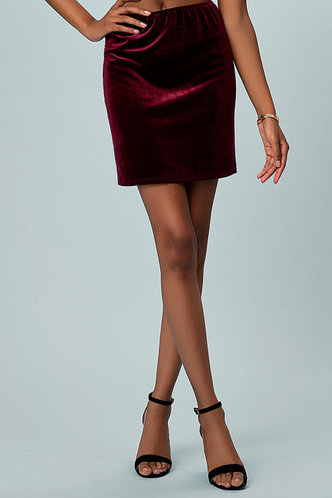front_Best Behavior Burgundy Skirt