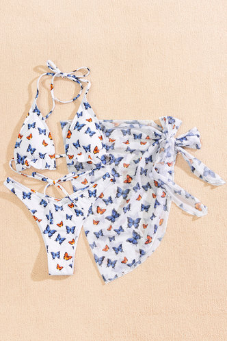 back_Arabela Eleanore White Butterfly Print Bikini