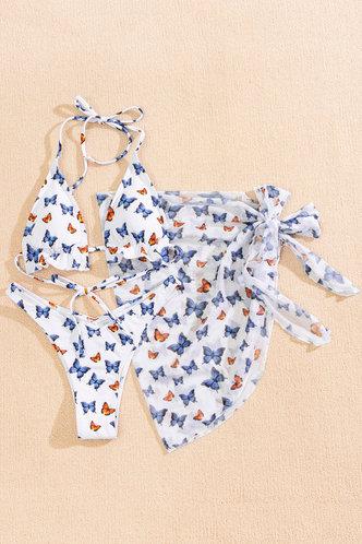 front_Arabela Eleanore White Butterfly Print Bikini