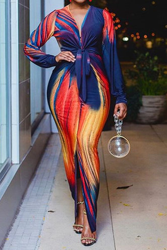 front_Chloe Laget Tie Dye Tie Front Split Hem Maxi Dress