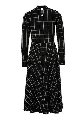 back_Antonia Edith Black And White Plaid Flare Midi Dress