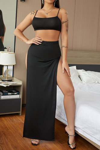 front_Solid High Opening Wrap Sleeveless Black Skirt Sets