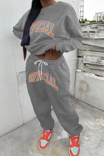 front_Letter Print Pullover Grey Pants Sets