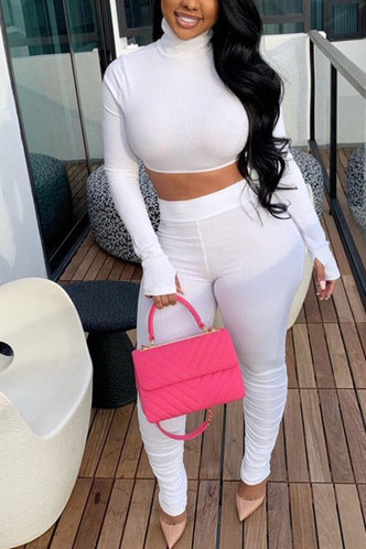 front_Solid Color White Pants Sets