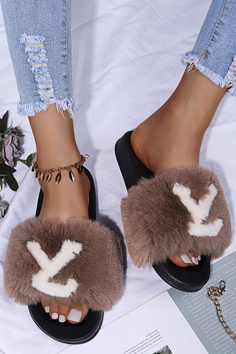 front_Letter Print Open Toe Flat Brown Sandals