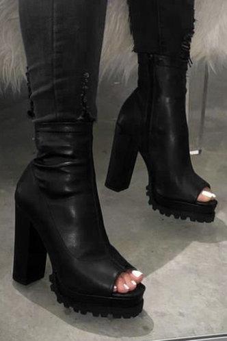 front_Plain High Heel Peep Toe Black Boots