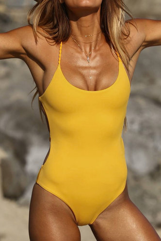 front_Scoop Neck Solid Color Bandage Backless Yellow One-Piece Swimsuits