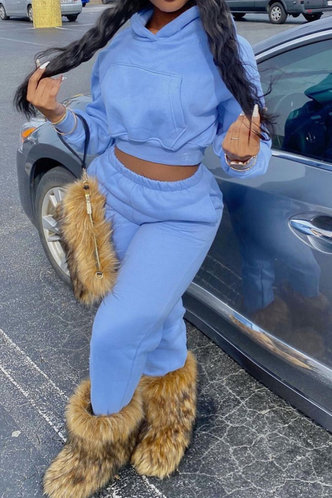 front_Plain Pocket Elastic Band Blue Plus Size Pants Sets