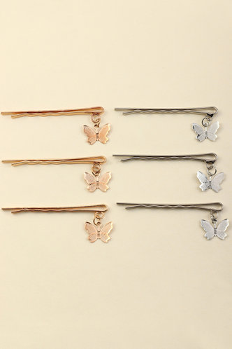 front_Camilla Elsie Gold And Silver Butterfly Decor Hair Clip 6pcs