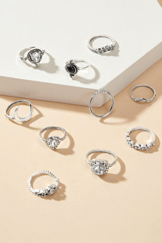 back_Muriel Eden Sliver Rhinestone & Moon Decor Rings 10pcs