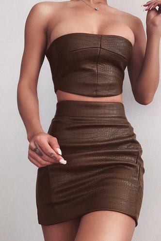 front_Sleeveless Pullover Coffee Skirt Sets