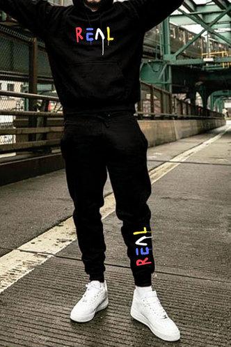front_Casual Black Men Pants Sets