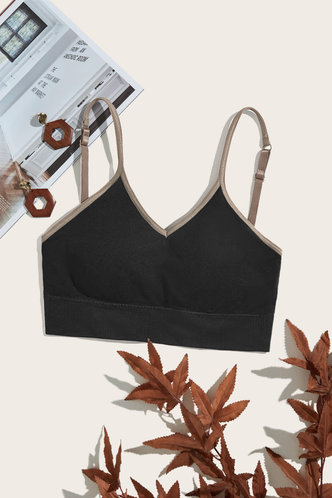 front_Plain Black Bras & Bralettes