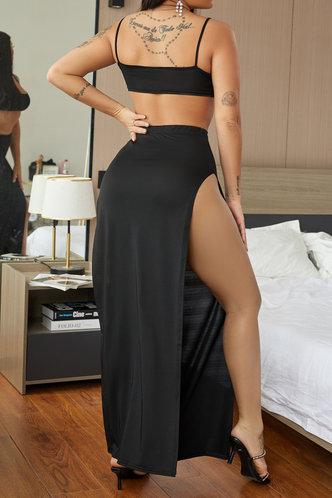 back_Solid High Opening Wrap Sleeveless Black Skirt Sets