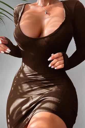 back_Scoop Neck Brown Mini Dress