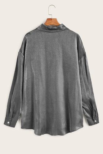 back_Collar Neck Long Sleeve Dark Grey Blouses