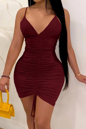 front_Shopping Vacation Party Sleeveless Red Wine Dresses