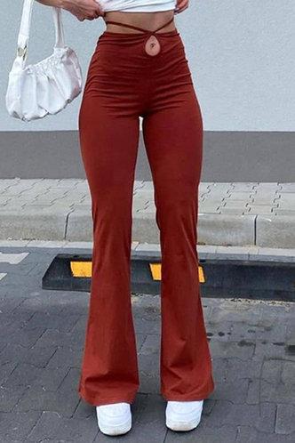 back_High Waist Plain Flare Leg Red Pants