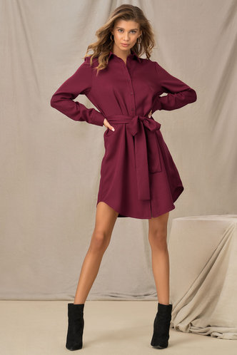 front_Desk to Drinks Burgundy Shirt Dress