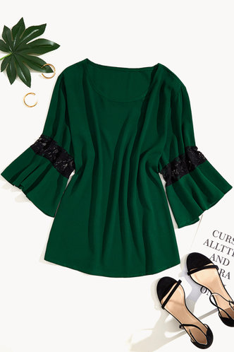 front_Winni Eden Dark Green Plus Blouse