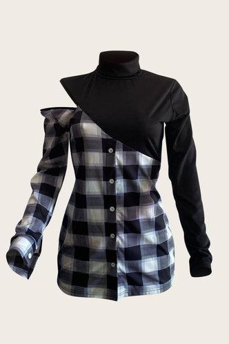 back_Jacquetta Elsa Black Plaid Plus Size Dress