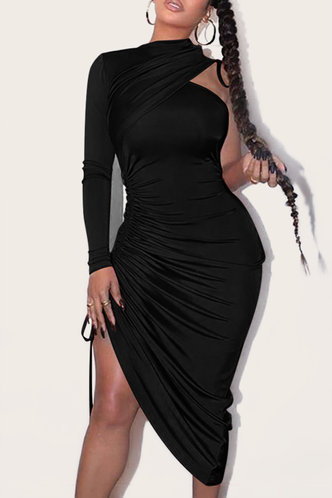front_Dorothea Ethel Black Drawstring Bodycon Dress