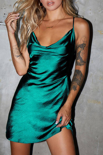 back_Emerald Green Cowl Neck Slip Dress