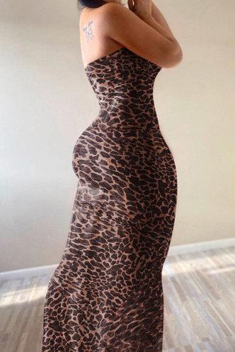 front_Party Sleeveless Leopard Print Leopard Print Dresses
