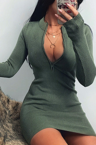 back_Maegan Green Ribbed Dress