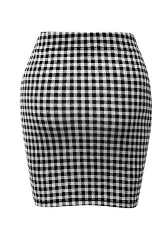 back_Be Mine Black And White Plaid Bodycon Skirt