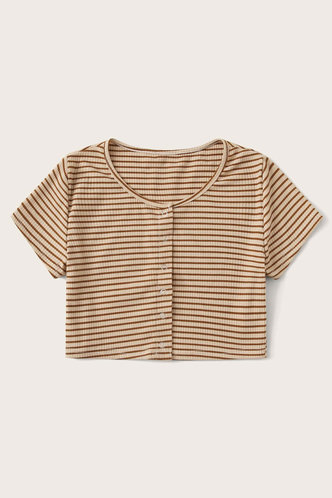 back_Pearl Edith Khaki Striped Tee