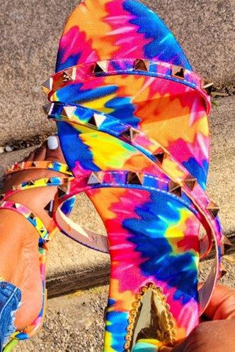 front_Gail Garan Tie Dye Thin Strap Slide Sandals