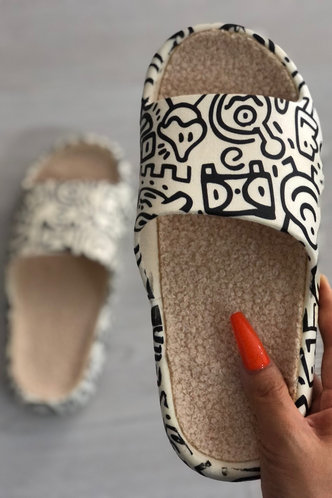 back_Cartoon   Flat Open Toe White Slides & Flip Flops