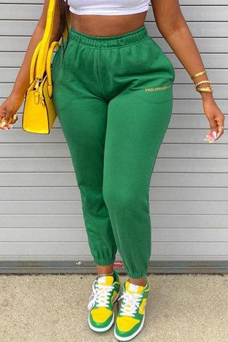 front_Mid Waist Long Green Sweatpants
