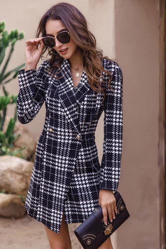 front_Ariane Black And White Plaid Blazer Dress