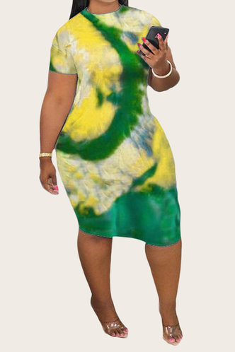 back_Nellie Erica Yellow And Green Plus Bodycon Dress