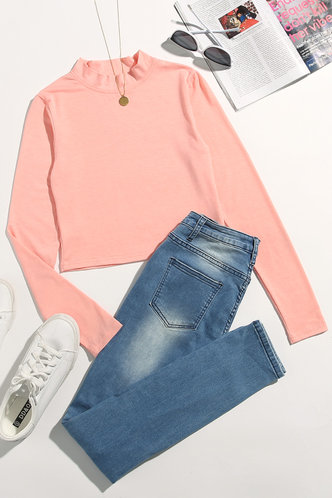 front_Needed Me Pastel Coral Pink Mock Neck Tee