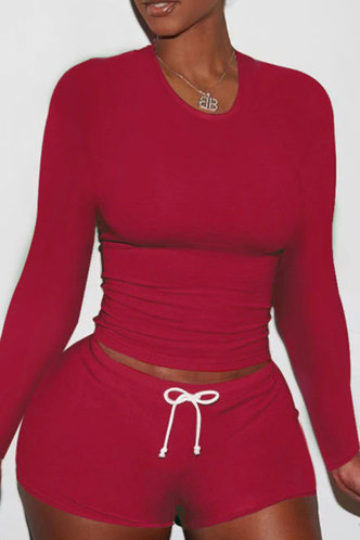front_Pullover Red Shorts Sets