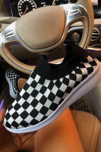 back_Plaid Flat Checker Sneakers