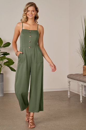 front_Like the Dream of It Army Green Jumpsuit