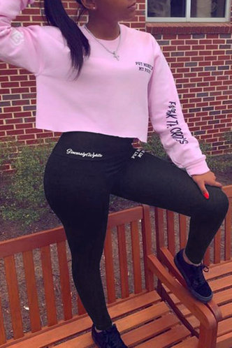 front_Letter Print Pullover Black And Pink Pants Sets