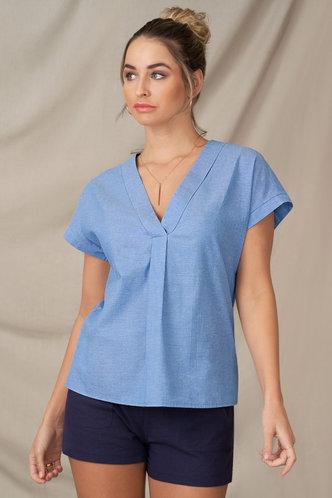 front_Open Ended Heart Denim Blue Short Sleeve Top