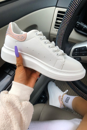 front_Plain Flat Round Toe White Sneakers