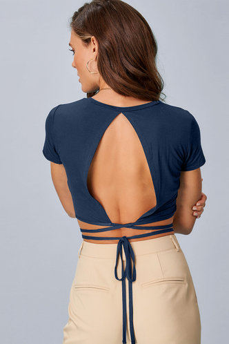 back_All Tied Up {Color} Short Sleeve Top
