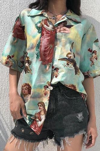 back_Vicki Ella Green Multi Print Blouse